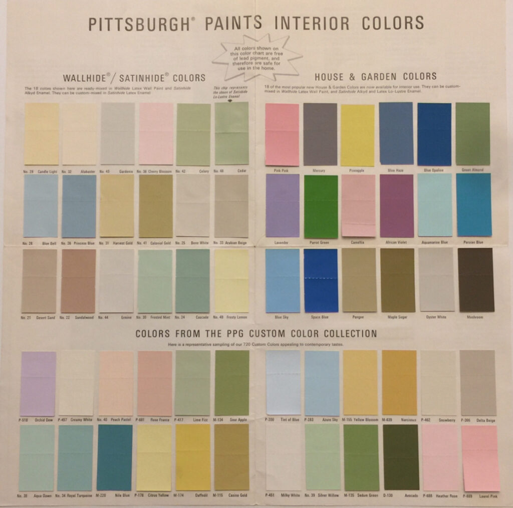 Pittsburgh Paints Color Chart