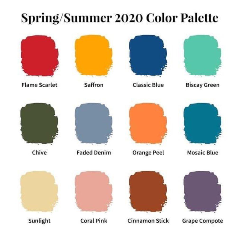 Pantone 2020 Spring/Summer Palette
