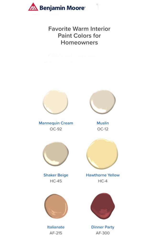 benjamin Moore Warm Interior Colors